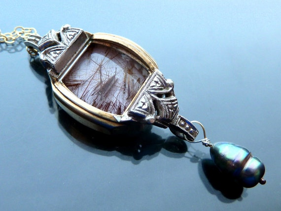Steampunk Dust in the Wind Necklace antique watch parts crystal 14k gold fill peacock pearl rutilated quartz letter t