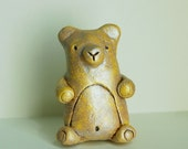 Yellow Woodland Bear Sculpture