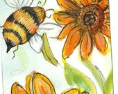 Bee with Sunflowers ACEO Original painting