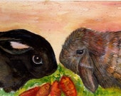 Pair of Bunny Rabbits painting original - 100% of price donated to Huntsville Friends of Rabbits