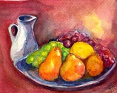 Original 5 by 7 inches Fruit with Pitcher Still Life original painting