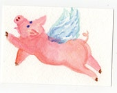 ACEO Flying Pig Watercolors Painting Original - PIG ART, whimsical pig art, pig with wings, miniature painting,art card