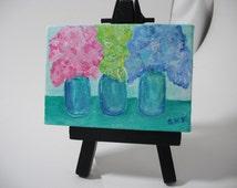 Hydrangeas mini painting on Canvas, Easel in blue canning jars original, miniature painting, hydrangea art, acrylics painting