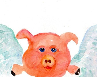 Flying Pig painting. original watercolor painting, Small Flying Pig artwork, watercolors paintings original, pigs with wings