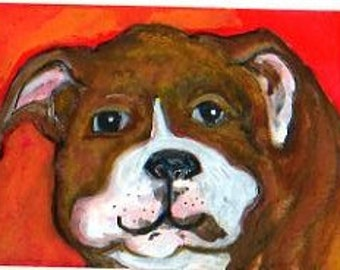 Bulldog Watercolor Puppy ACEO Original, Dog art