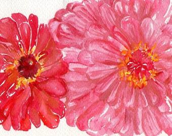 Zinnias watercolors paintings original, Watercolor painting flowers, Pink red zinnia, floral original watercolor painting, floral wall art