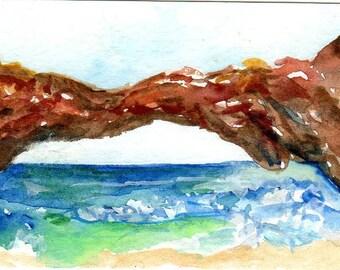 ACEO Natural Bridge Wild Side of Aruba watercolors paintings original, Ocean art card, miniature painting, SharonFosterArt, SharonFosterArt