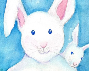 Rabbits Watercolors Paintings original, Big and little bunny rabbit original watercolor painting, white baby bunny, white rabbit on blue