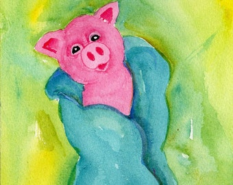 Pig watercolor, Baby Pig in a Blanket watercolor painting original 5 x 7, shower gift, nursery art, pig painting
