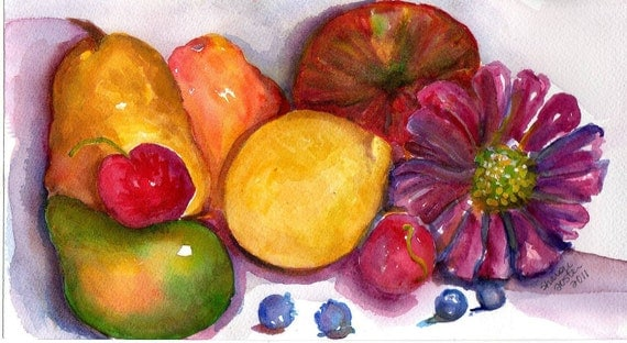 Fruit Painting, a Still Life Original Watercolor