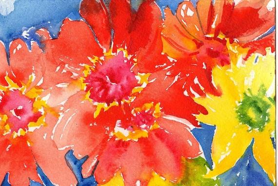 Original  Zinnias watercolor painting,Red zinnias and yellow daisies on blue,  Flower art