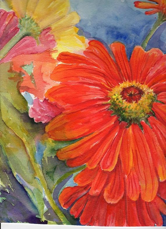 Big Colorful Zinnias Original Watercolor Painting