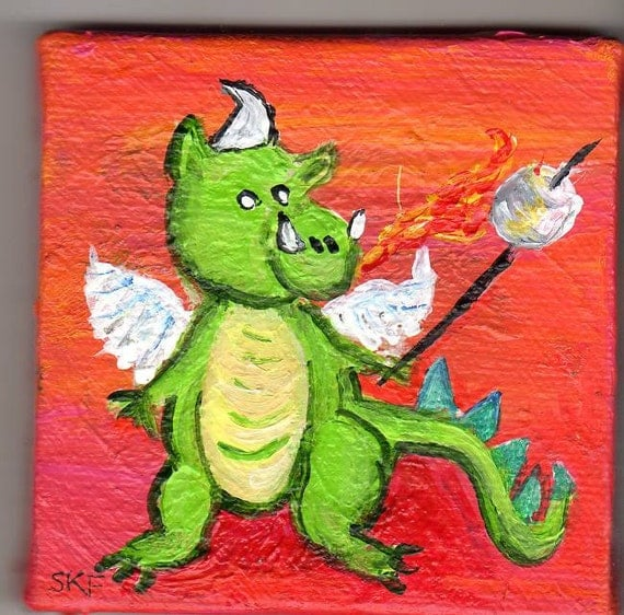 Dragon with Flaming Marshmallow Original  mini painting on Canvas with Easel