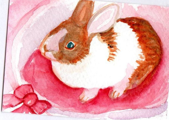 ACEO Original  White  and Brown Bunny Rabbit with Pink Bow in Bunny Bed,