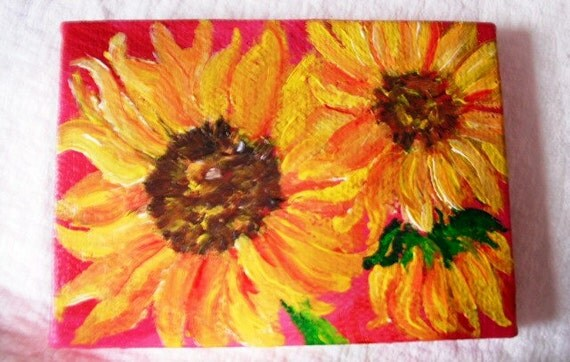 Reserved for C   Sunflowers  Original mini painting on Canvas with Easel