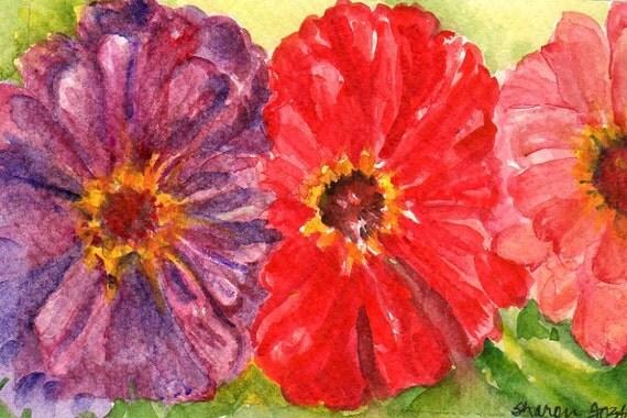 Zinnias Painting - ZINNIA watercolor Original