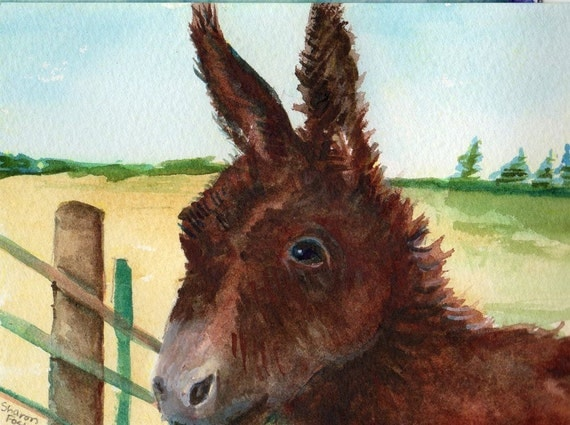 Donkey at the fence watercolor original painting