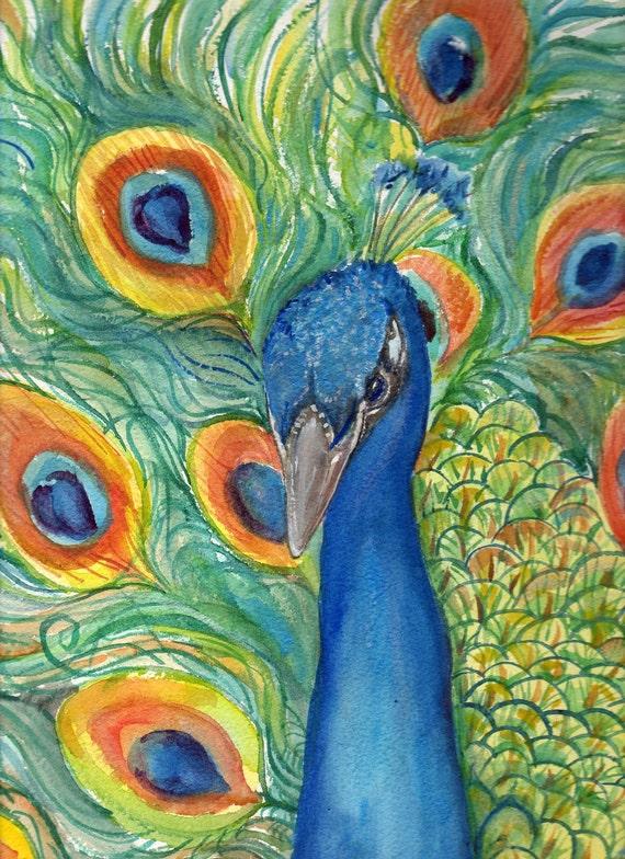 Peacock Watercolor Painting original