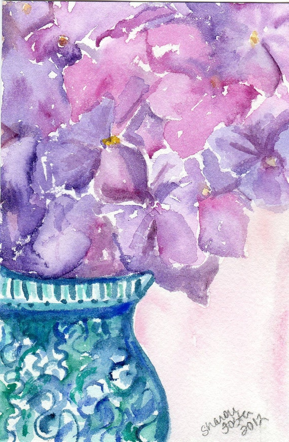 Purple & radiant orchid Hydrangeas in  Blue and White Vase Watercolor Painting, Original 4 x 6 inches
