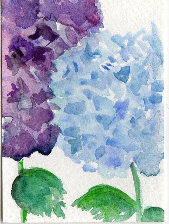 ACEO Blue Hydrangea, Purple Hydrangea Original Painting  Art Card
