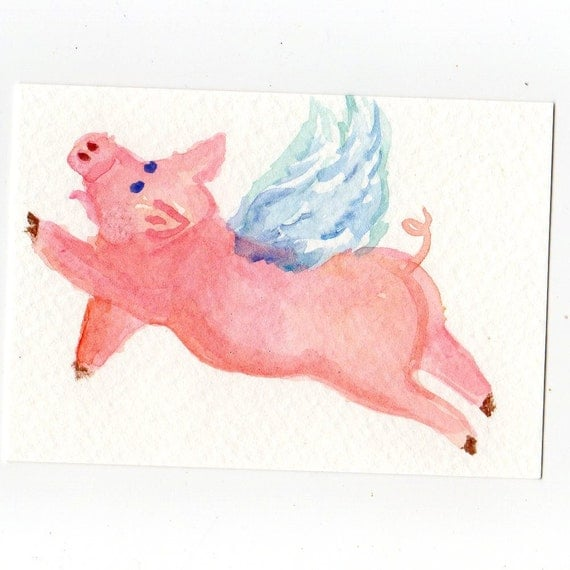 ACEO Flying Pig Watercolor Painting Original, when pigs fly, pig with wings, miniature painting, art card, flying pig painting