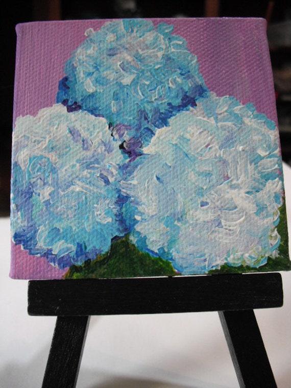 Hydrangeas mini canvas, acrylic painting on little canvas with easel, Blue hydrangeas painting