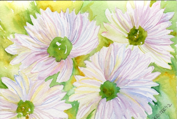 Original White Daisies with Green Centers Watercolor Painting