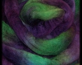 BFL Roving - Superwash - Hand Painted - Violets in the Grass - 4 oz (113 g)