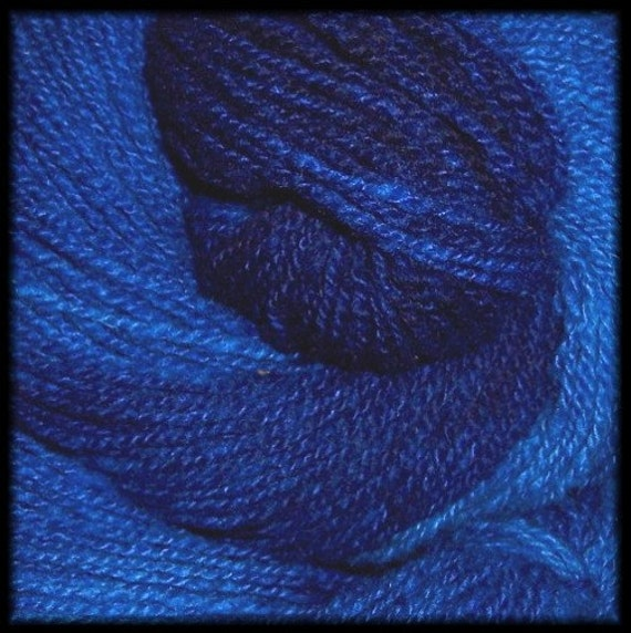 Blues Deluxe - CASHMERE Wool blend yarn - hand-dyed semi solid - 225 yds - 1.75 oz
