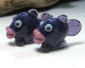 SALE:  Adorable Pair of Purple Lampwork Fish Beads by Starlight Designs