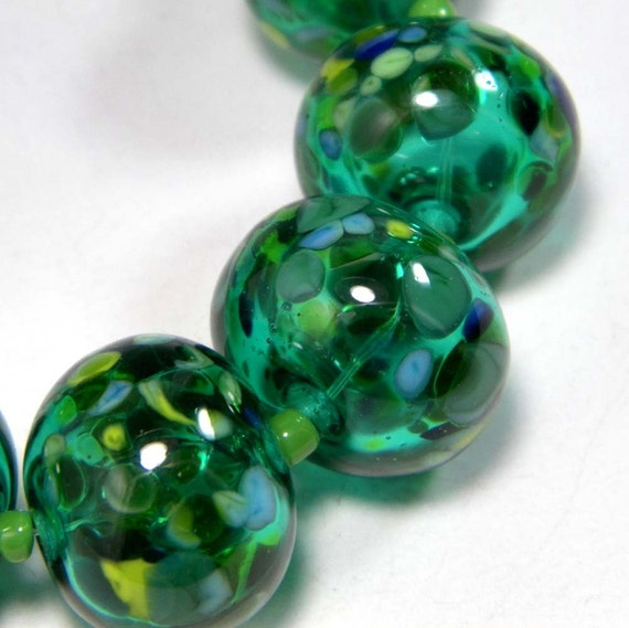 SALE:  Light Teal and Frit Hollow Lampwork Bead Set by Starlight Designs