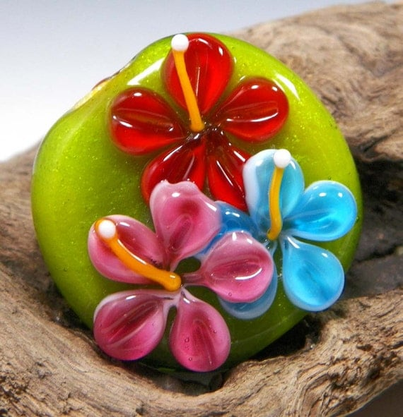 SALE:  Lime, Pink, Aqua, and Orange Lampwork Sparkly Tropical Hawaiian Floral Focal Bead by Starlight Designs