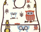 RESERVED for Julie  -  Waterproof Toddler Baby Bib .... LAMINATED COTTON .... Hooty Owls