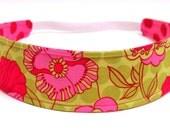 Headband Girls, Child's, Children's Headband -  Fuschia Pink, Lime Green, Floral, Polka Dots  -   Reversible Fabric Headband  -  PETUNIA