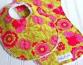 Baby Bib & Burp Cloth Set Girl -  Set of 2 - Super Absorbent Chenille - Triple Layer Design  - Pink and Lime Green Floral