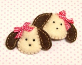 Girls Felt Puppy Hair Clips  -  Chocolate Labs  -  Red Gingham Bows
