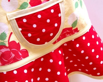 Girls Apron, Kids Apron, Floral Apron, Red & Yellow Floral, Child Children's Toddler - STRAWBERRY LEMONADE