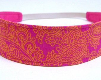 Headband  Reversible  Fabric  -  Hot Pink, Fuchsia, Tangerine, Paisley, Floral   -   Headbands for Women - MIMI