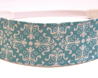 Headband Reversible Fabric  -  Aqua Blue & White Mod Floral  -  Headbands for Women - CLARITY