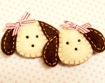 Girls Felt Puppy Hair Clips  -   Chocolate Lab, Dogs, Puppies  -  Set of 2 - Ponytail Clips -  PINK BROWN STRIPES