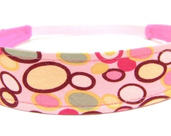 Girls Child  Children's  Headband   -   MOD PINK DOTS    Reversible Fabric