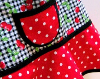 Girls Cherry Apron, Kids Apron, Little Girls Apron, Child Apron, Toddler Apron, Teen Apron, Craft Apron  -  CHERRY GINGHAM & DOTS