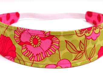 Headband Girls, Child's, Children's Headband -  Fuschia Pink, Lime Green, Floral, Polka Dots  -   Reversible Fabric Headband  -  PETUNIA
