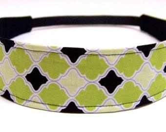 Headband Reversible Fabric  - Green, Black & White Quatrefoil Morrocan Print - Headbands for Women - JULIA