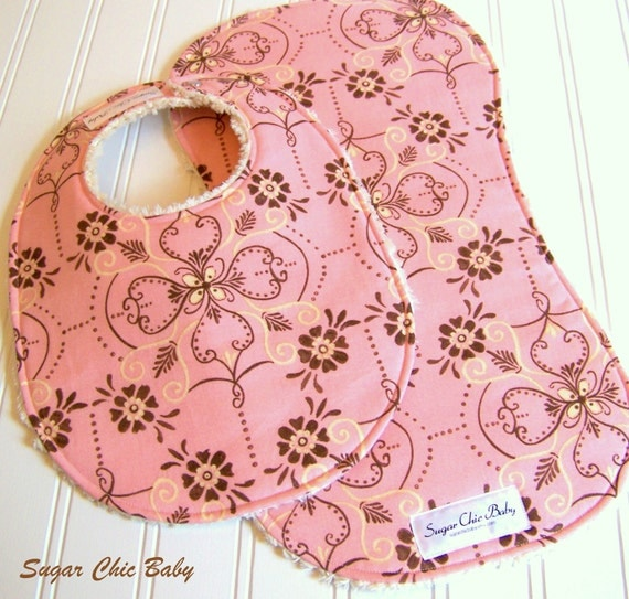SALE - Baby Bib & Burp Cloth Set Girl  - Super Absorbent Chenille - Triple Layer Design - Shabby Chic Pink and Brown