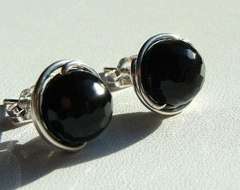 Faceted Black Onyx Studs Black Onyx Earrings 8mm Post Earrings Wire Wrapped in Sterling Silver