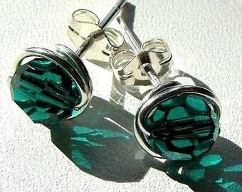 6mm or 4mm Emerald Green Studs Swarovski Crystal Post Earrings in Sterling Silver Stud Earrings Studs