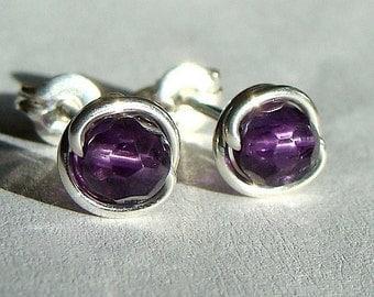 Tiny Faceted Amethyst Studs Post Earrings Wire Wrapped in Sterling Silver Stud Earrings Birthstone Earrings Studs