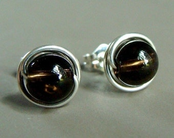 Smoky Quartz Studs Smoky Quartz Earrings 6mm Post Earrings in Sterling Silver Quartz Stud Earrings