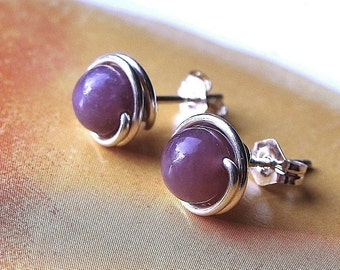 Lepidolite Studs 6mm Studs Post Earrings Wire Wrapped in Sterling Silver